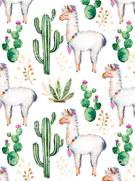 Motif Lama texture with watercolor cactus plantsflowers and lama