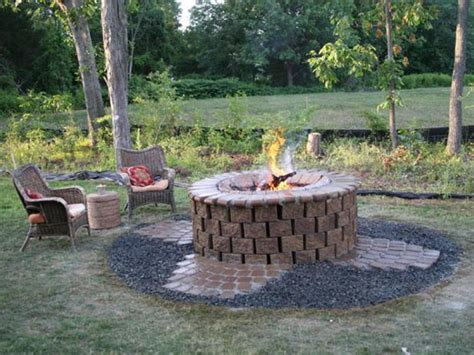 backyard brick fire pit backyard fire pit ideas with simple design