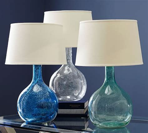 Teal Blue Bedroom Decor by Eva Colored Glass Table Lamp Pottery Barn