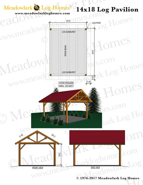 plans perspectives and elevations of timber pavilions 14x18 log pavilion meadowlark log homes