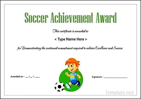 soccer certificate templates soccer certificate achievement award sle templates