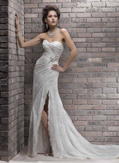 wedding dresses with thigh high slits informal column thigh high slit lace sweetheart wedding