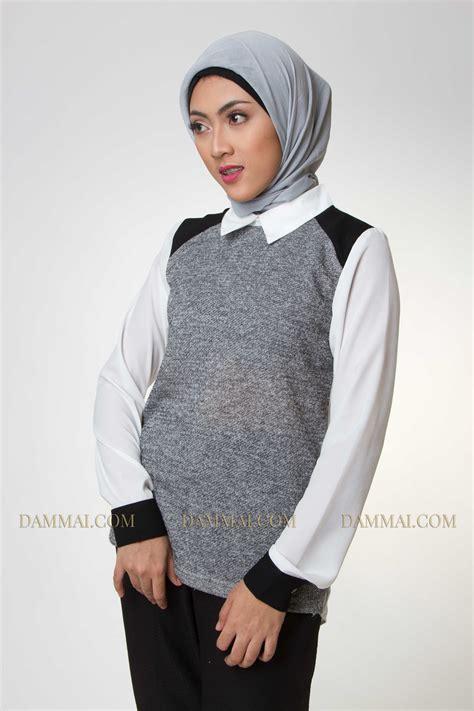 Blouse Dan Koko Muslim grey white muslim blouse dammai