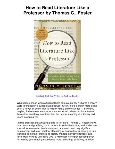 Pdf How Read Literature Like Professor by How To Read Literature Like A Professor By C Foster