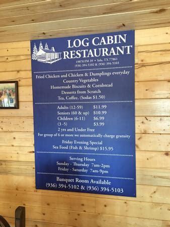 The Cabin Restaurant Menu by Picture Of Log Cabin Restaurant Iola Tripadvisor