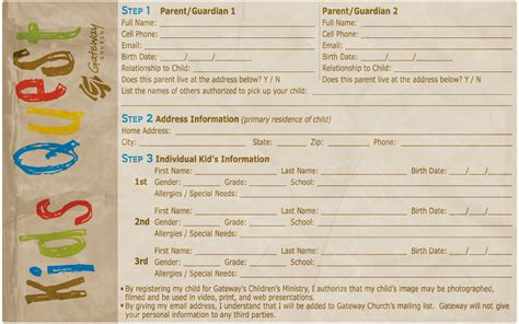 registration cards template registration cards childrens ministry