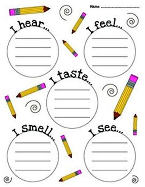 5 senses writing template health and nutrition on 47 pins