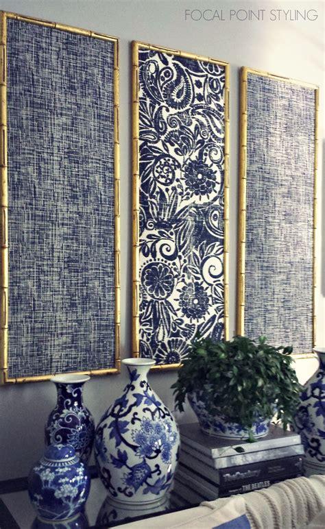 fabric wall decor focal point styling diy indigo wall with framed fabric