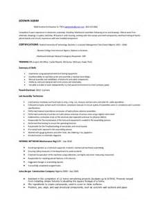 Electronic Assembler Resume Sle by Electronic Technician Resume Sle Bestsellerbookdb