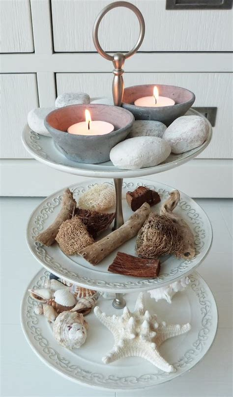 cupcakes etagere beachy etagere with sea treasure and tealights