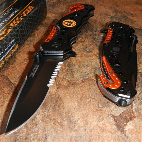 ems pocket knife tac assisted opening emt ems orange rescue