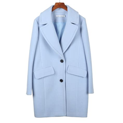 Light Blue Wool Coat by High Quality S Thick Wool Blends Coat Fashion