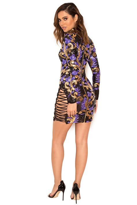 Mini Dress Sequins 43mrr clothing structured dresses taya purple and gold sequin mini dress