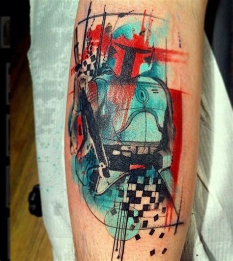 boba fett tattoo combining geometric shapes abstractions