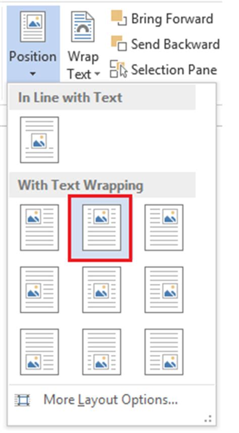 word layout options word 2013 how to center a photo or image within a document