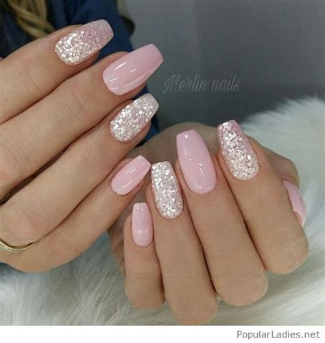 light pink gel light pink gel nails with silver glitter pink gel nails