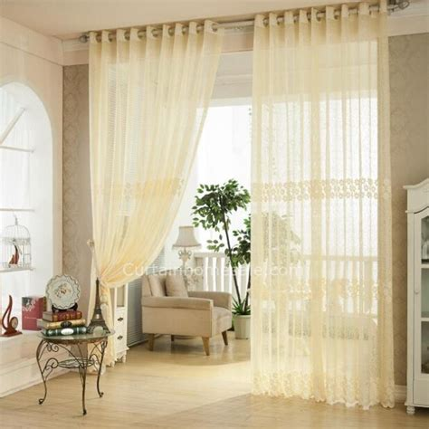Curtain Home Sale Beige Net Material Sheer Curtain In Jacquard Craft