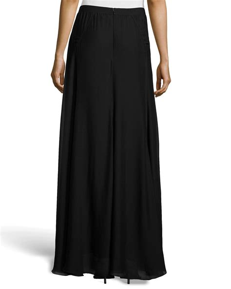 paneled chiffon maxi skirt in black lyst