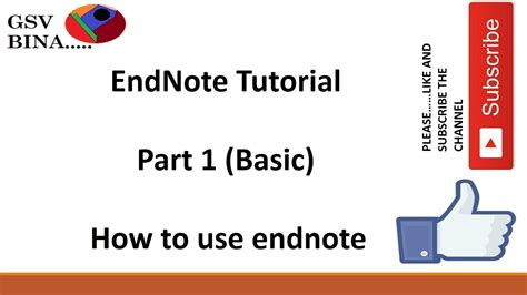 youtube tutorial endnote endnote tutorial part 1 in hindi for all youtube