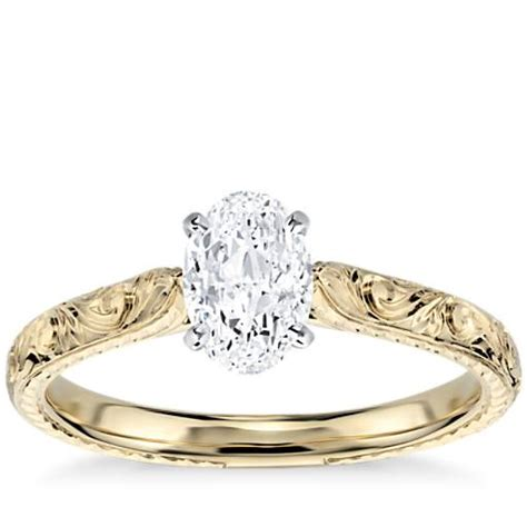 Engraved Solitaire Engagement Ring In 18k Yellow Gold by 1 5 Carat Solitaire Engagement Ring