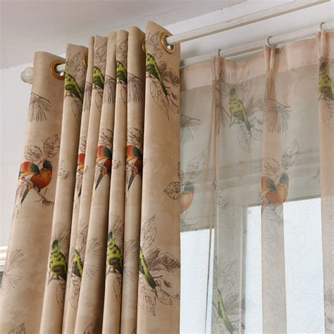 bird curtains drapes coffee bird insulated chic beautiful grommet curtains and