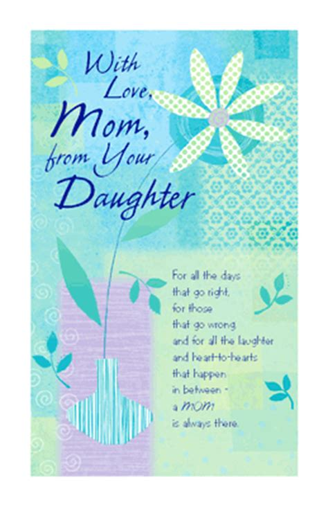 printable birthday cards for mom with love from your daughter greeting card mother s day