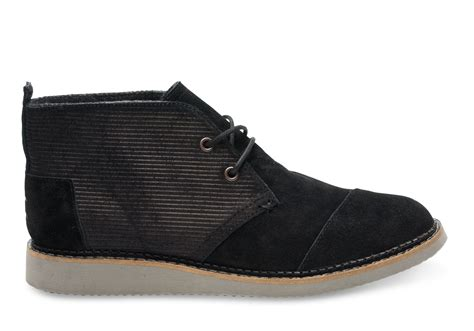 toms black embossed suede s mateo chukka boots in