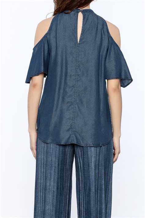 Cold Shoulder Denim Top 1250 c cold shoulder denim top from new york city by dor l dor shoptiques
