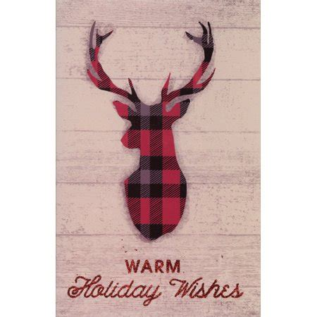 deer antlers and plaid for christmas american greetings plaid deer antlers box of 14 cards walmart