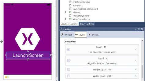 xamarin layout constraints launch screens xamarin