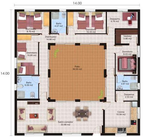 planos de casas con patio central plano de casa con patio central