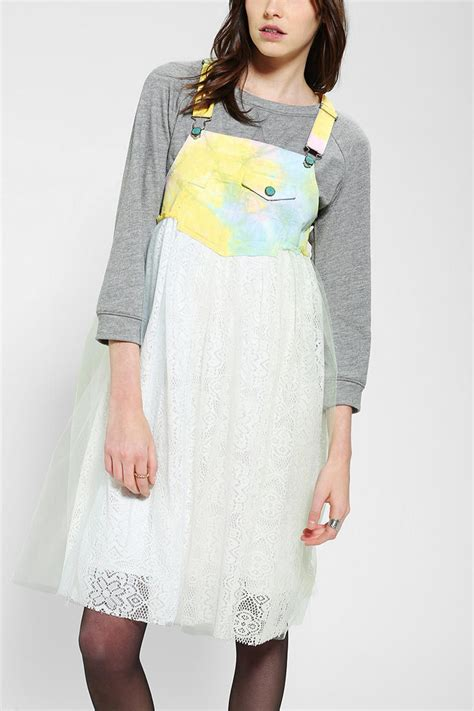 White Overall Dress outfitters jco fiona overall dress in white lyst