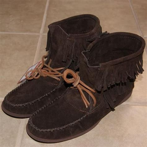 mens fringe boots s ankle high brown genuine suede leather moccasin