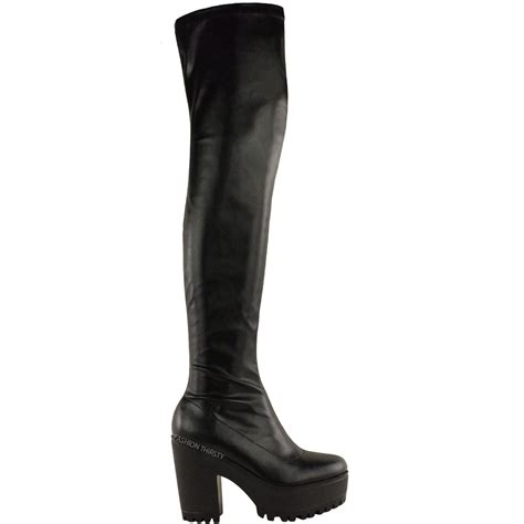 stretch high heel boots womens the knee thigh high chunky