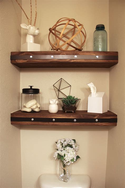 decorations for bathroom shelves diy floating shelves with faux rivets