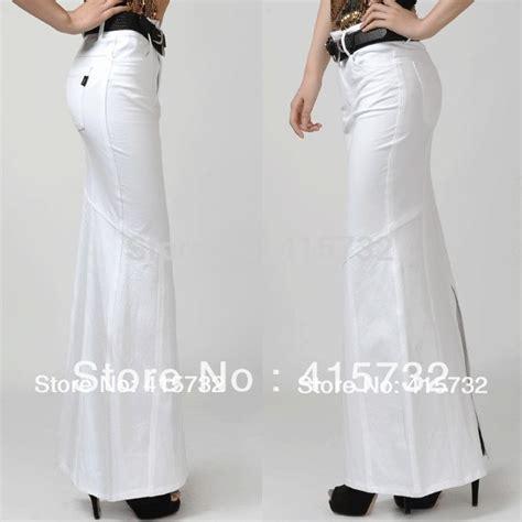 free shipping white cotton skirts fashion maxi