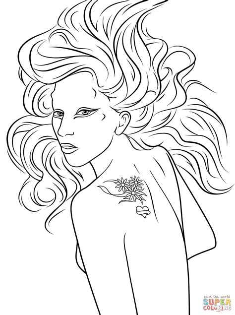 lady gaga coloring free printable coloring pages