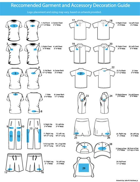 Design Your Own Home Screen by Garment Decoration Placement Guide Kcb Print Resources