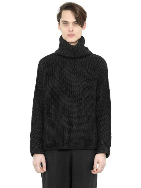 mens knit turtleneck sweater blood wool blend rib knit turtleneck sweater in