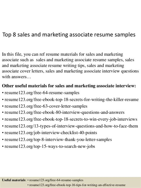 Best Resume Sles For Sales And Marketing Top 8 Sales And Marketing Associate Resume Sles