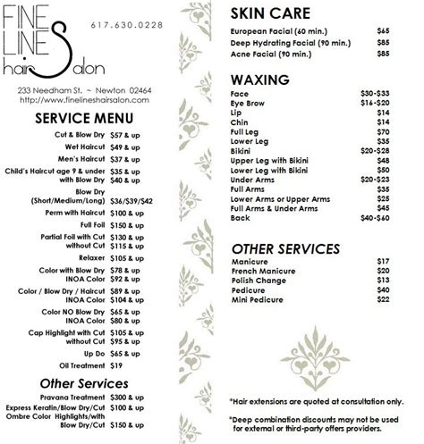 service menu page fine lines hair salon 233 needham