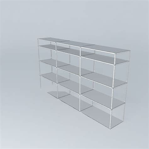 metal and wooden warehouse shelving units free 3d model
