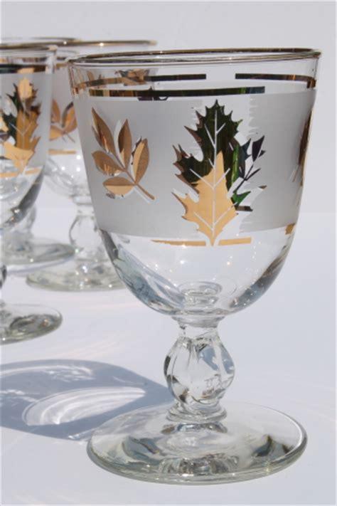 gold leaf pattern glasses vintage golden foliage gold leaf pattern libbey glasses