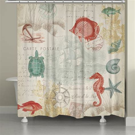 postcard shower curtain coral seaside postcard shower curtain laural home
