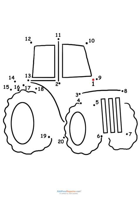 printable tractor mazes connect the dots tractor kidspressmagazine com