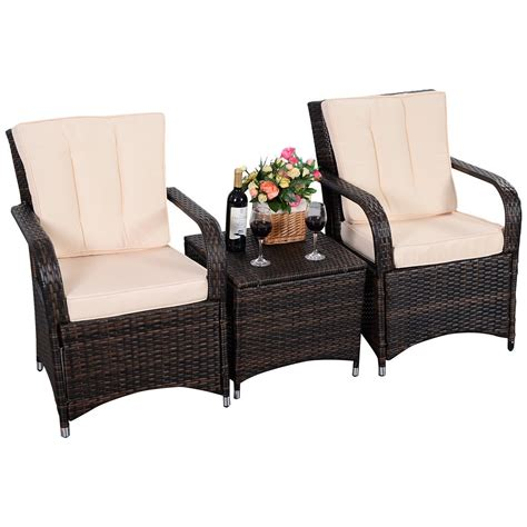 pe wicker outdoor furniture 3 qualited patio pe rattan wicker furniture set outdoor seat cushioned mix brown