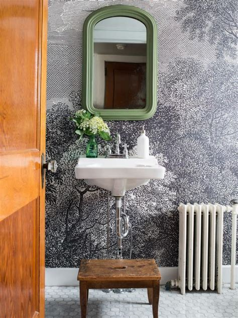 wallpaper for small bathrooms how to install wallpaper in a bathroom hgtv
