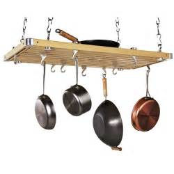 Hanging Saucepan Rack Wood Rectangular Ceiling Kitchen Pot Rack Pot Racks At