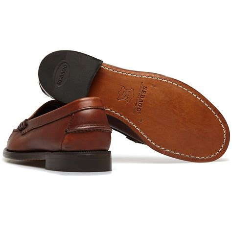 sebago classic loafer sebago classic brown leather loafers in brown for