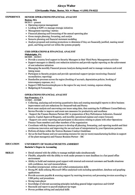 Operations Analyst Resume Exle by Operations Financial Analyst Resume Sles Velvet